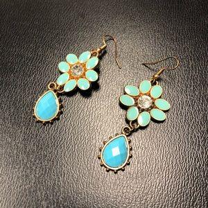 VTG Turquoise Enamel & Rhinestone Flower Earrings